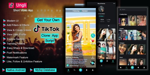 Ungli Short Video Creating App Tiktok Clone App Code V1 0