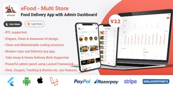 eFood v2.2 – Food Delivery App with Laravel Admin Panel + Delivery Man App