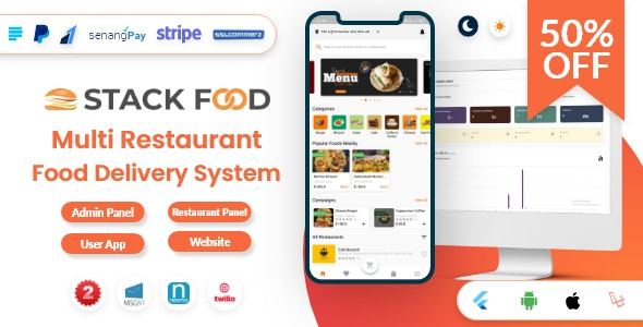 StackFood Multi Restaurant v3.0 – Food Delivery App with Laravel Admin and Restaurant Panel