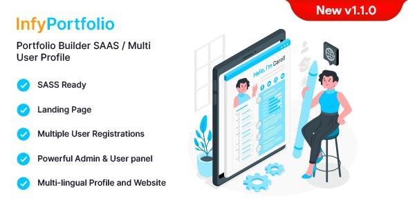 InfyPortfolio-Saas v1.1.0 – Laravel Saas Personal Portfolio / Resume / CV Website Theme